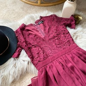 Wine colored macrame lace a line cocktail dress